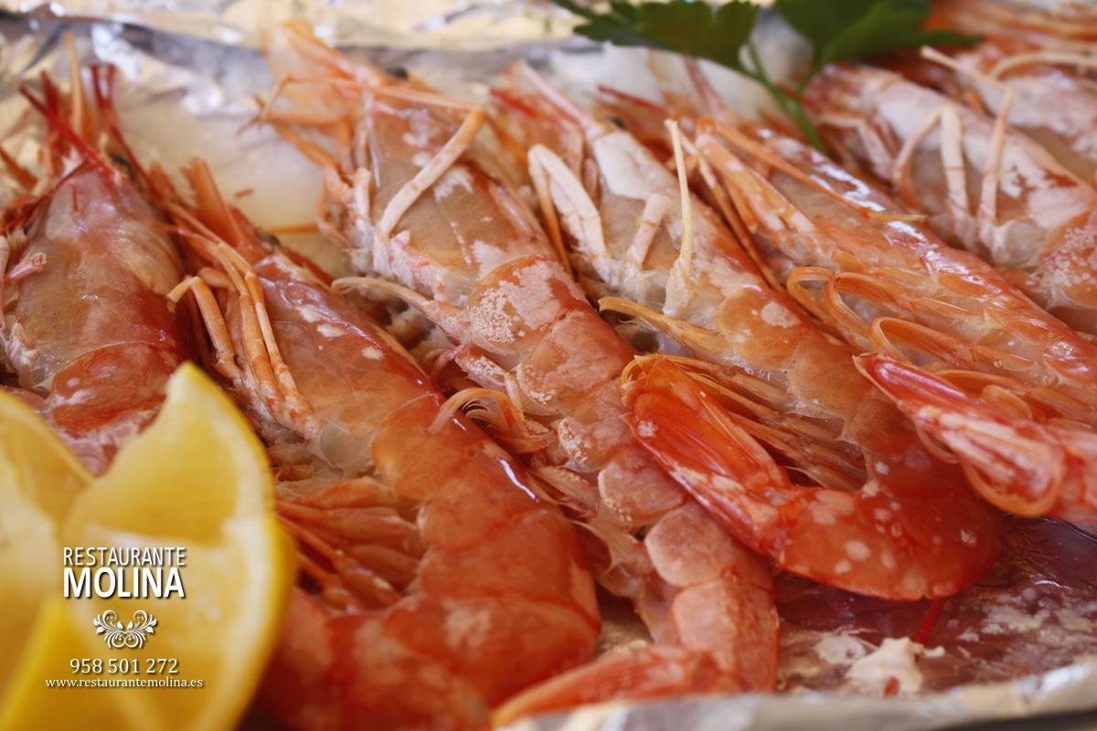 Gambones a la sal en Restaurante Molina