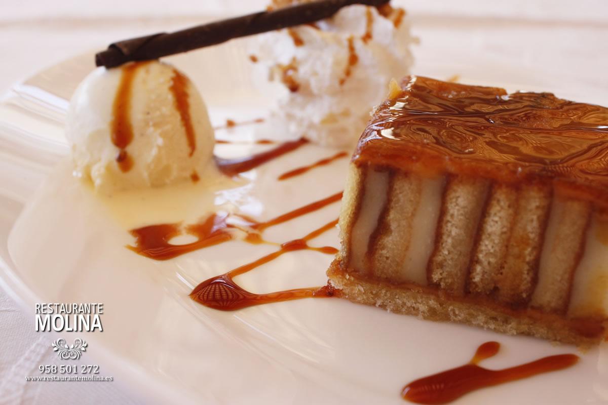 Tarta de piononos en Restaurante Molina