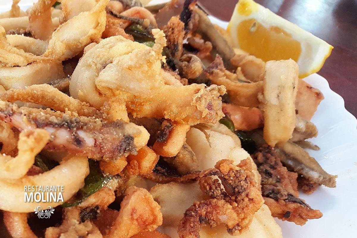 Fritura de pescado fresco y variado en Restaurante Molina
